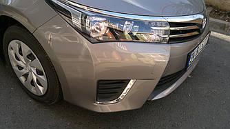 Накладки на противотуманки (2013-2016, нерж.) - Toyota Corolla 2013+ гг.
