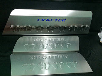 Накладки на пороги LED (3 шт, нерж) - Volkswagen Crafter 2006-2017 гг.