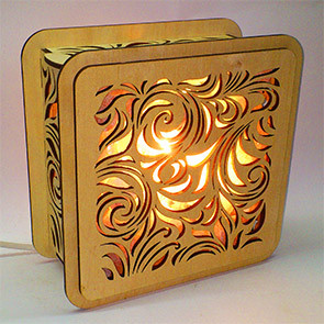 Соляной светильник деревянный  с кристаллами соли Листья