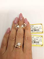 Серебряный набор с золотыми вставками кольцо и серьги с камнями листиками белого и оранжевого цвета 256у