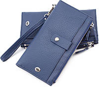 Универсальный кожаный кошелёк под купюры и карточки голубого цвета ST