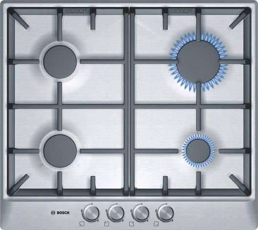 Встраиваемая газовая поверхность Bosch PCP615B90E - Ш-60см./4 конфорки/чугун/нерж. сталь, фото 2