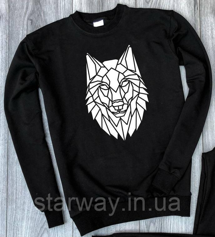 Світшот чорний Wolf logo   стильна Кофта