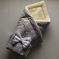 """Конверт-одеяло для новорожденных на выписку и в коляску на меху """"Звездочка"""" серый, фото 1"""