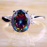 Серебряное кольцо, Кристалл, с камнем мистик, размер 19