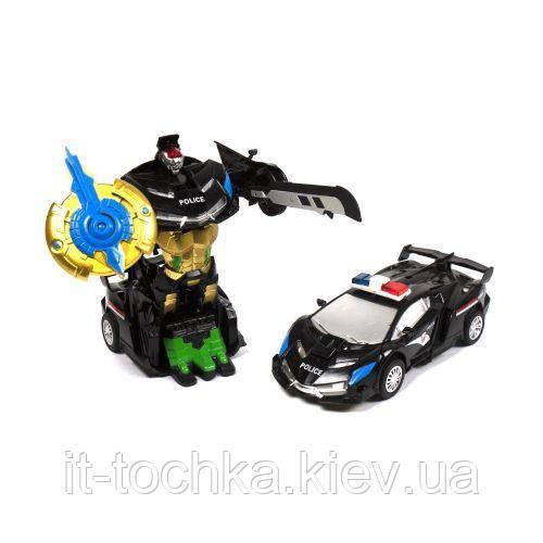Металлический машина-трансформер 350-15 Полиция черная