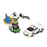 Металлический машина-трансформер 350-15 Полиция белая