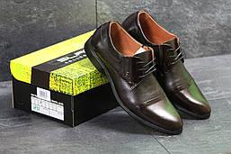 Туфли мужские Slat весенние осенние классика натуральная кожа+резина в коричневом цвете, ТОП-реплика