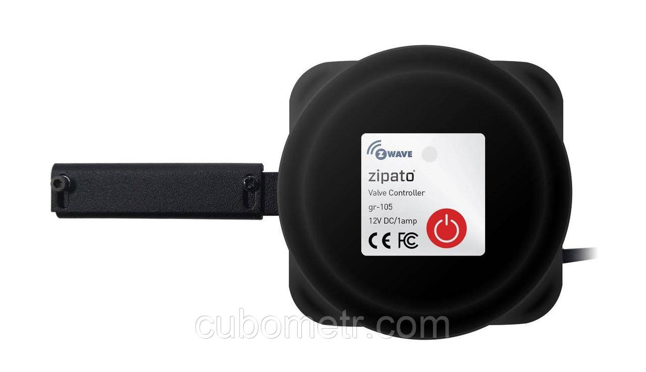 Умный кран перекрытия воды / газа Zipato Valve controller, Z-Wave, DC 12В/1А, 16 атм, черный