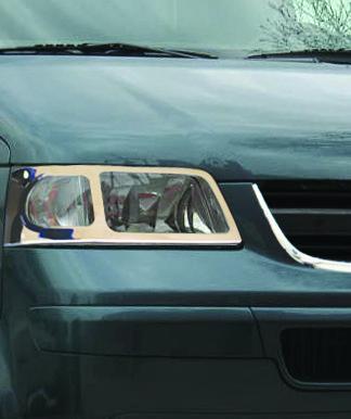 Накладки на передні фари (2 шт., нерж) - Volkswagen T5 Transporter 2003-2010 рр.