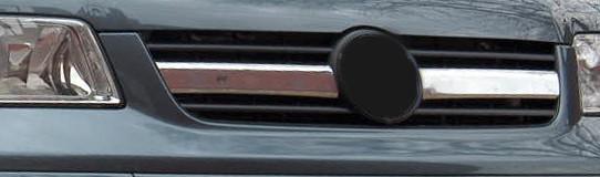 Накладки на решетку по центру (2 шт, нерж) - Volkswagen T5 Transporter 2003-2010 гг.