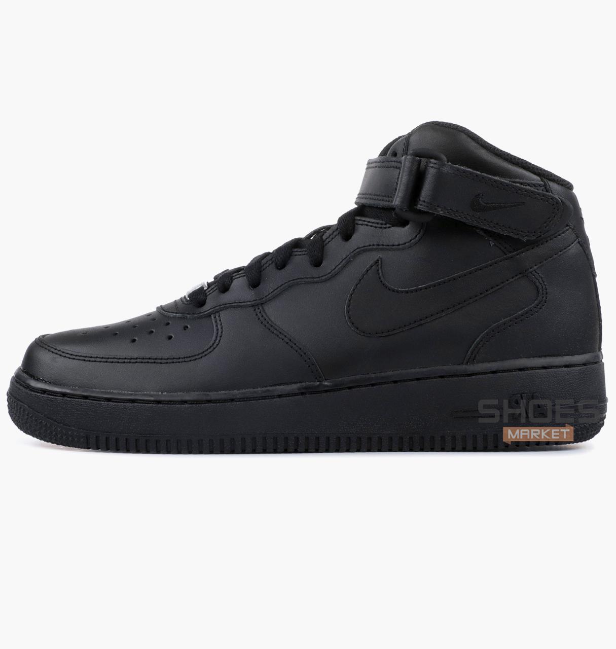 1e77e98b Женские кроссовки Nike Air Force 1 Mid (GS) Black 314195-004, оригинал