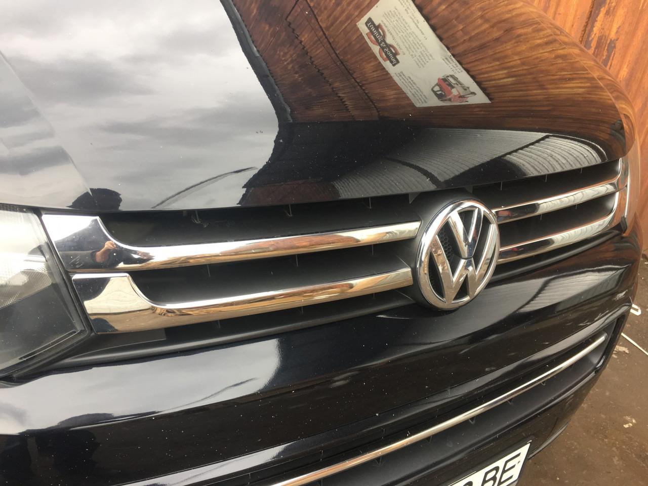 Накладки на решетку раздельные (Carmos, 4 шт, нерж.) - Volkswagen T5 рестайлинг 2010-2015 гг.