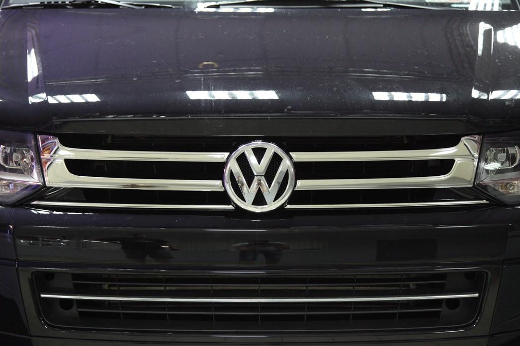 Накладки на решітку (Omsa, 4 шт, нерж) - Volkswagen T5 рестайлінг 2010-2015 рр.