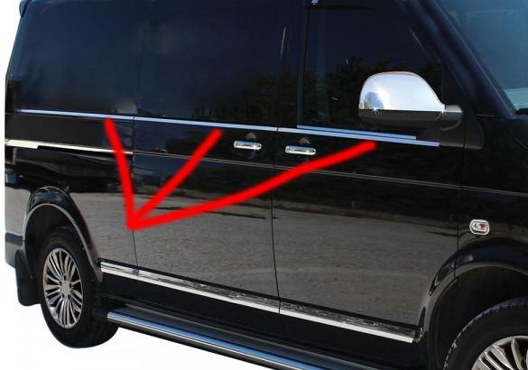 Нижня окантовка вікон (6 частин, нерж) - Volkswagen T5 рестайлінг 2010-2015 рр.