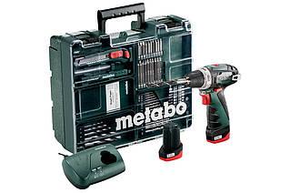 Шуруповерт-Дрель Metabo PowerMaxxBSBasic аккумуляторный, 10.8V 2x2Ah, з/у, кофр, набор 63 шт.