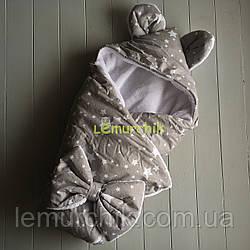 Конверт-одеяло с капюшоном и ушками, на махре Звездочки серые