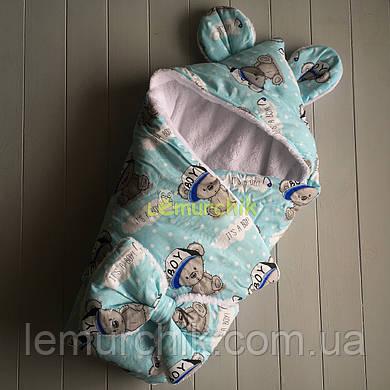 Конверт-одеяло с капюшоном и ушками, на махре Мишка boy, голубой