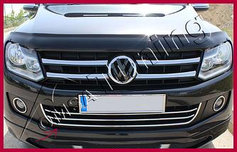 Накладки на передній бампер з посмішкою (3 шт, нерж) - Volkswagen Amarok