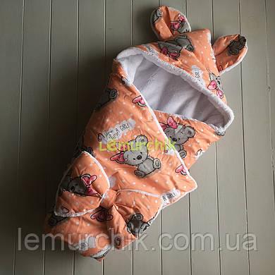 Конверт-одеяло с капюшоном и ушками, на махре Мишка girl, персиковый