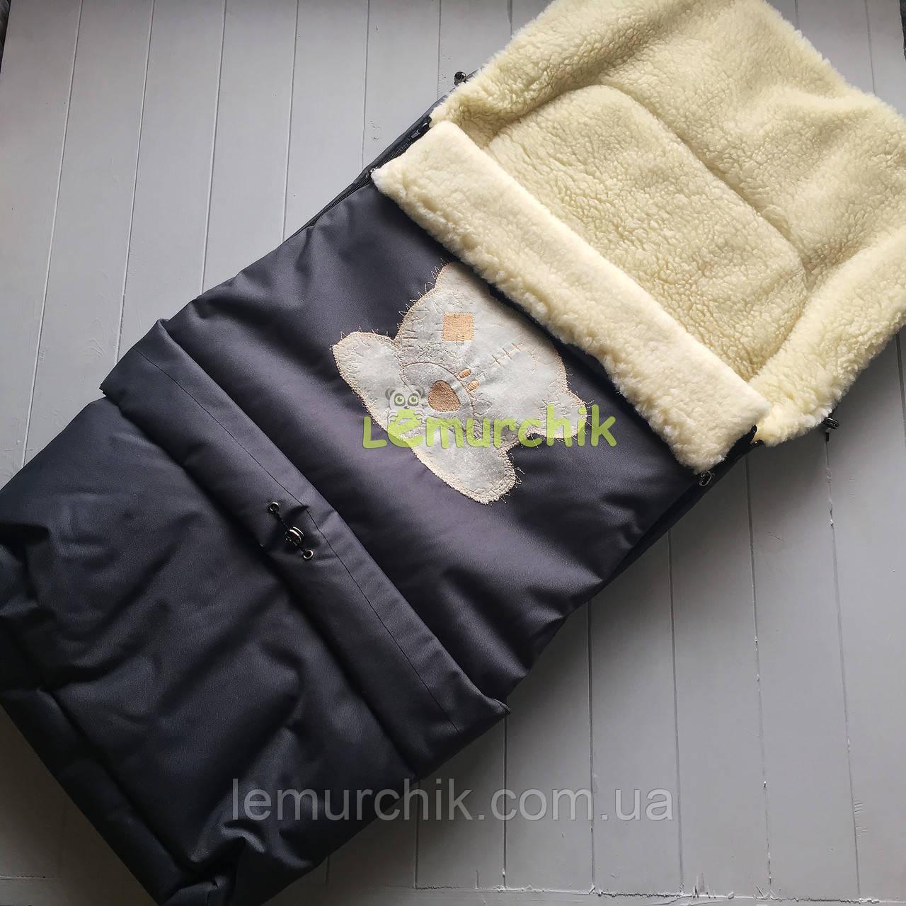 Чохол-конверт на санки і в коляску подовжений з мишком, чорний