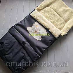 Чехол-конверт на санки и в коляску удлиненный с мишкой, черный