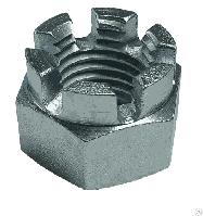 Гайка корончатая DIN 935 М16 класс прочности 8 (100 шт/уп)