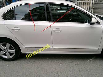 Верхні молдинги скла 6 шт, нерж) - Volkswagen Jetta 2011+ рр.