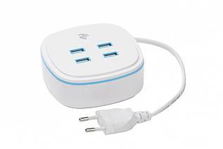 Сетевое ЗУ 2Е на 4 USB Output A/B/C/D:DC5.0V/4.2A, cable 1.27m, white