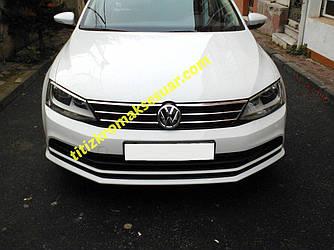 Накладки на решітку 2014+ (нерж) - Volkswagen Jetta 2011+ рр.