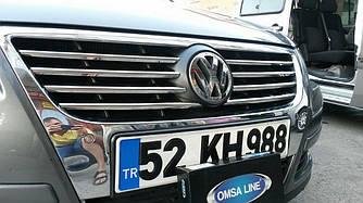 Накладки на решетку (8 шт, нерж) - Volkswagen Passat B6 2006-2012 гг.