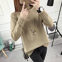 Женский свитер с воротником под горло бежевый опт, фото 1
