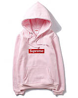 ✔️ Розовый худи Supreme box logo (толстовка, кофта с капюшоном суприм)