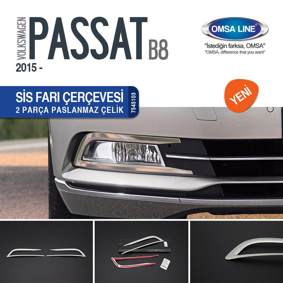 Накладки на противотуманки (2 шт., нерж) - Volkswagen Passat B8 2015+ рр.