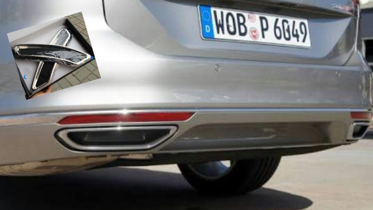 Накладки на глушитель (2 шт, нерж) - Volkswagen Passat B8 2015+ гг.