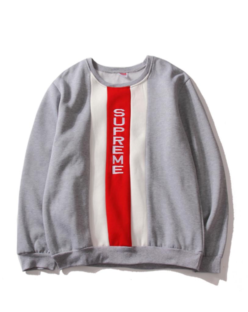 Серый свитшот Supreme с вертикальным логотипом (толстовка суприм мужская женская)