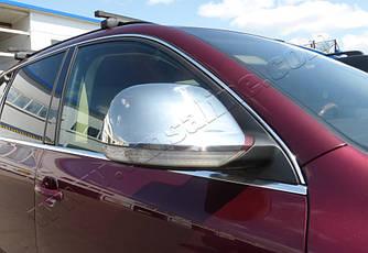 Накладки на зеркала 2008-2010 ( 2 шт, нерж) - Volkswagen Touareg 2002-2010 гг.
