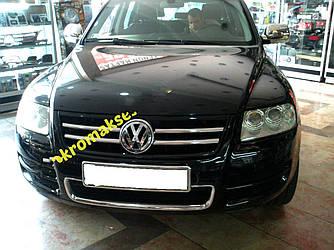 Накладки на решетку (4 шт, нерж) - Volkswagen Touareg 2002-2010 гг.