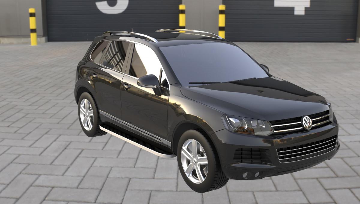 Боковые площадки Tayga Grey (2 шт., алюминий) - Volkswagen Touareg 2010+/2015+ гг.