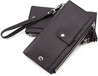 Кожаный кошелёк под купюры и карточки черного цвета ST