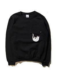 Свитшот Rip n dip чёрный с выпадающим котом (толстовка рип н дип мужская женская)
