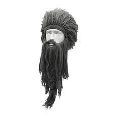 Зимняя шапка викинга с дредами и длинной бородой серая, фото 3