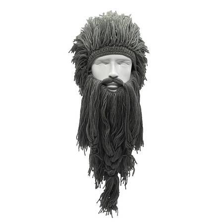Зимняя шапка викинга с дредами и длинной бородой серая, фото 2
