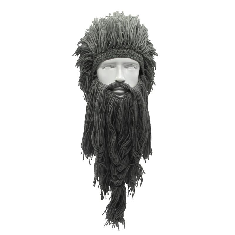 Зимняя шапка викинга с дредами и длинной бородой серая