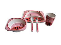 Набор детской посуды Kronos Toys Бамбук Божья коровка Вовка Розовый tps88-8720882, КОД: 147158
