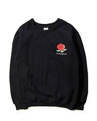 Свитшот Rip n dip чёрный с принтом розы (толстовка рипндип мужская женская)