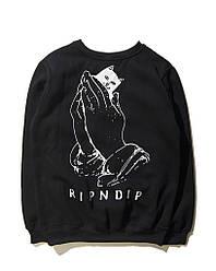 Свитшот Rip n dip чёрный с котом в кармане (толстовка рипндип мужская женская)