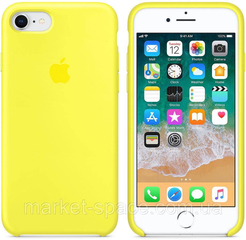 """Чехол силиконовый для iPhone 7/8. Apple Silicone Case, цвет """"Жёлтый неон"""""""