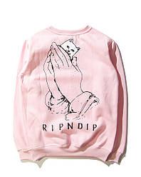 Свитшот Rip n dip розовый с котом в кармане (толстовка рип н дип мужская женская)