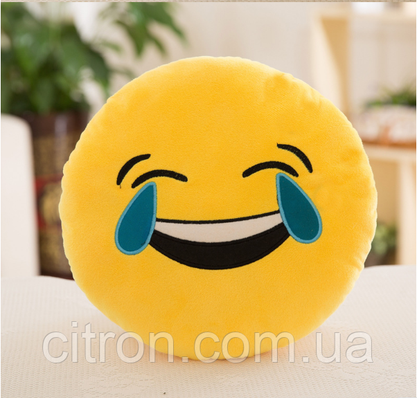Декоративные подушки Смайл Смех до слез Emoji 33 см. Подушка смайлик